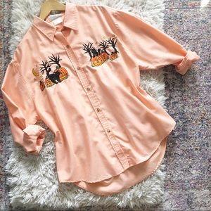 Vintage   Halloween Orange Embroidered Button Up